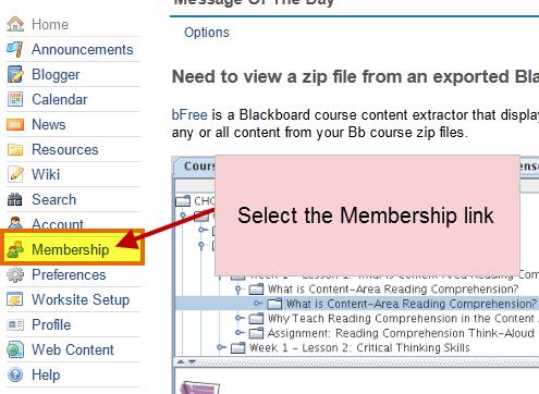 select the membership link