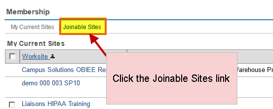 select the joinable sites link