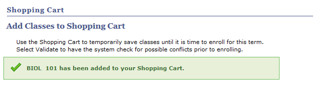 confirmation that classes have been added to shopping cart