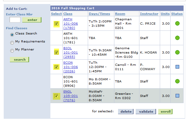 add classes to shopping cart