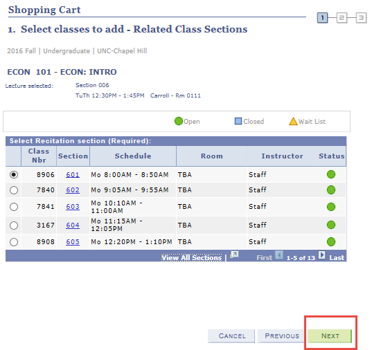 add a lecture with recitation to shopping cart