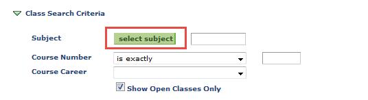 Class Search Criteria