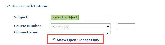 show open classes only