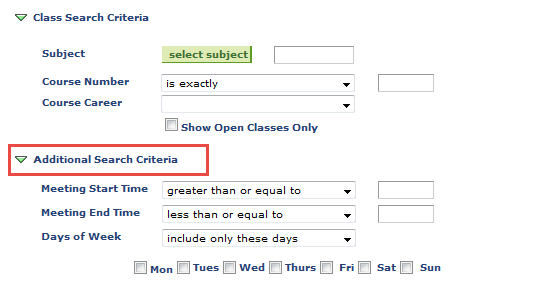 additional search criteria