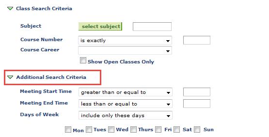 additional search criteria