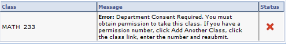 example of enrollment error message 'department consent required'