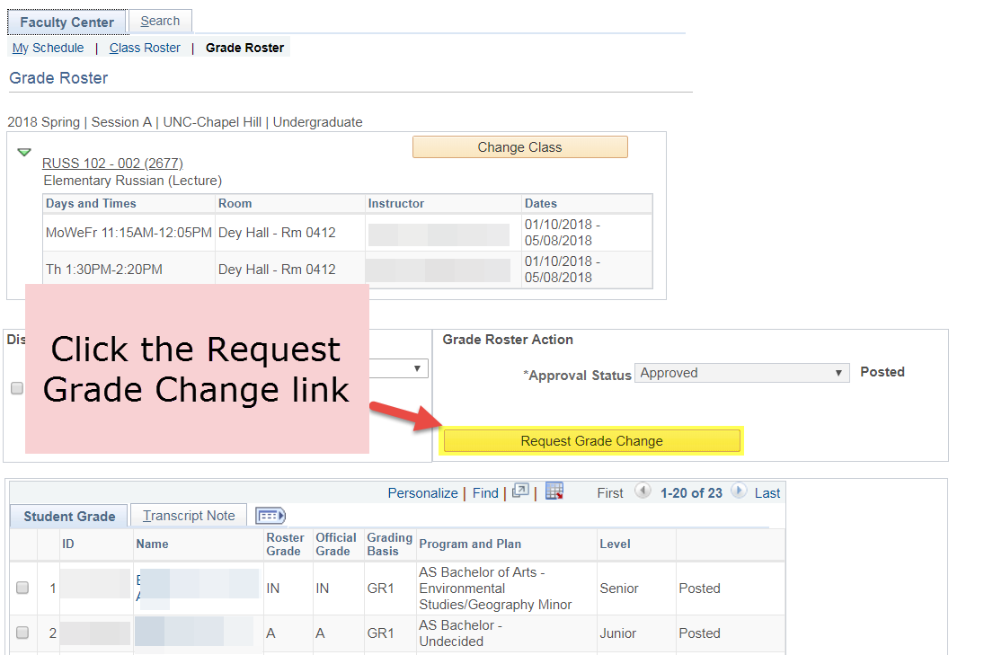 Select the Request Grade Change link.